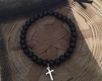 Sterling Silver Christian Cross Black Beaded Bracelet