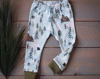 baby leggings forest tree blue, cabin camping tree toddler pants, children pants forest woodland, tree baby pants, newborn boy forest pants