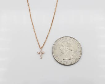 """Simple 14k /18k Gold Extra Small Cross Pendant + 16"""" Chain"""