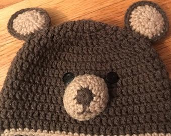 Crochet Hat - Brown Bear