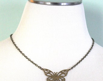 Butterfly Necklace, Butterfly Jewelry, Boho Jewelry, Festival Jewelry, Insect Jewelry, Vintaj Necklace, Brass Necklace, Gifts for Women