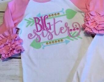 Big sister Ruffled raglan icing shirt / Big sister ruffled shirt / sibling icing shirt / big sister little sister matching shirts