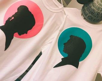 Couple Star Wars Shirts- Pair/Set Princess Leia and Han Solo, Silhouette Disney Couple Shirts- Star Wars Matching Shirts