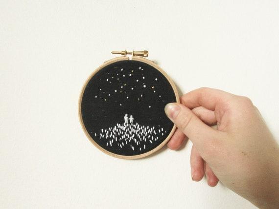 Night Sky Stargazing | Original Embroidery Hoop Art by Etsy