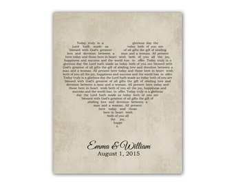 Any Song Lyrics, Favorite Song Wedding Song Anniversary Gift for Wife for Husband First Dance Song Wedding Vows Heart Typography Print Wall