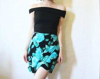 90s Blue Rose Wrap Skirt XS S