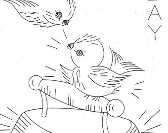 Hand Embroidery Pattern 626 Birds for Days of the  Week Dish Towels 1960s