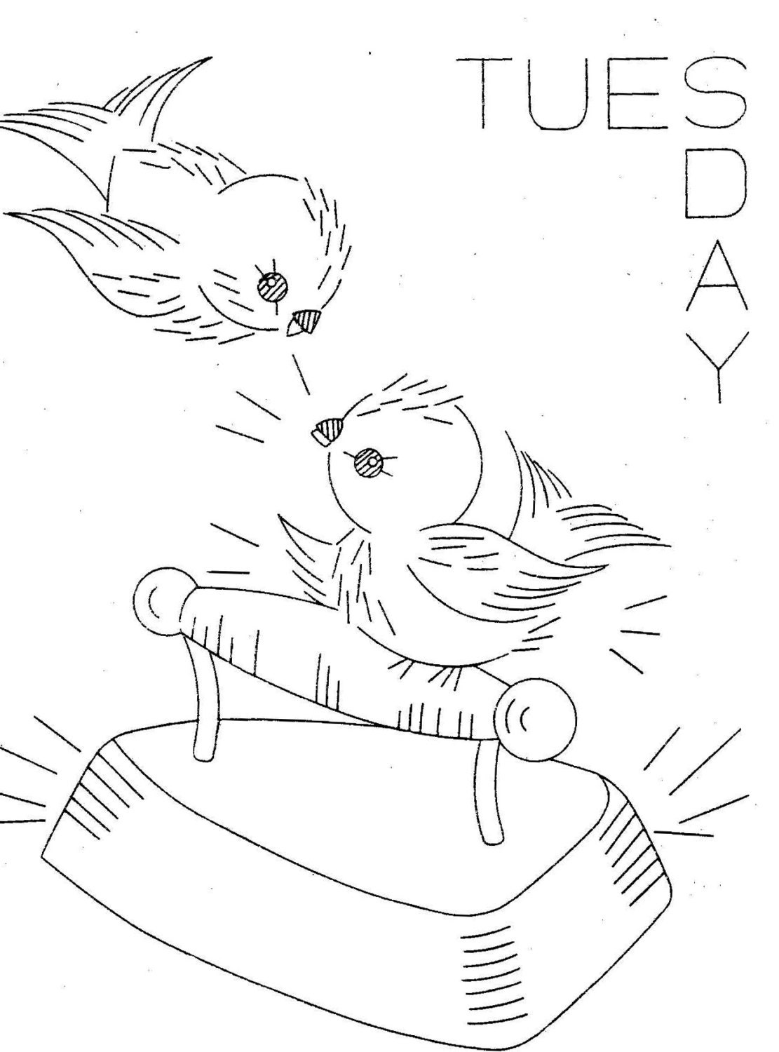 Hand Embroidery Pattern 626 Birds for Days of the Week