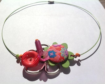 Springtime necklace handcrafted cotton covered button