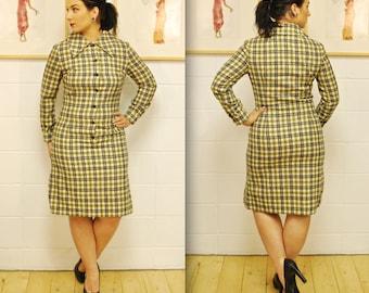 1960's Yellow Plaid PENDLETON Wool Dress / Mad Men / Rare Collectable Retro