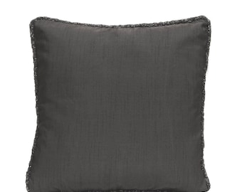 Charcoal Grey Pillow Cover Gray Pillow Grey Throw Pillow Grey Bead Pillow Minimalist Pillow Home Decor Gray Lumbar Pillow Gray Euro Sham