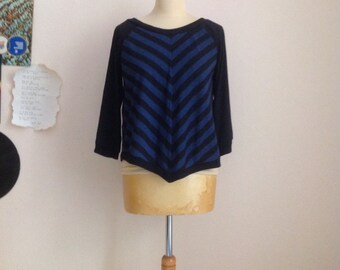 90s Roal Blue Black Stripe Knit Sweater Crew Neck Short Sleeve Top Medium