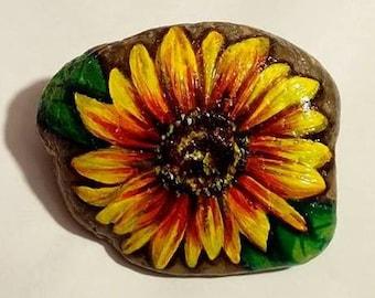 Sunflower Turnsole Handpainted Pebble Stone in Acrilyc