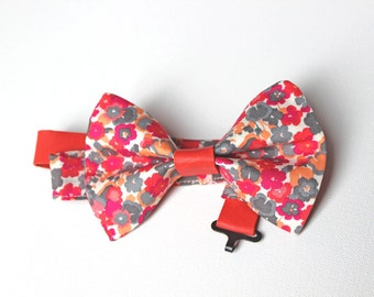 Women's Bow tie  -  Pink and grey floral coton and pink leather