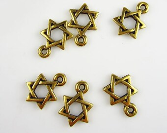 6 Gold Tierracast Small Star of David Charms