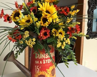 Sunflower watercan center piece. Table flower arrangement . Flower Arrangement