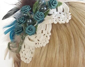 Teal Rose Headband/ Fascinator