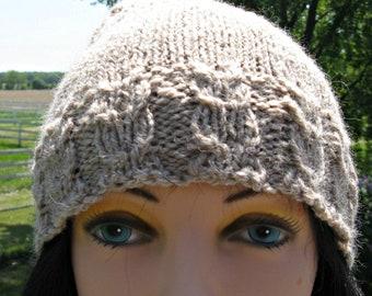 Alpaga / laine chapeau, chapeau Tan Knit pour homme ou femme, bonnet fait main, chapeau d'hiver