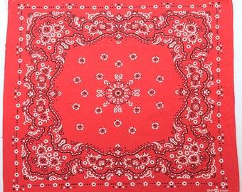 Vintage 60s Elephant Trunk Up Red Fast Color Bandana 1960s Rockabilly Work Wear Handkerchief Cotton Western Hillbilly Chore Head Scarf
