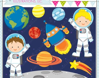 Space Kids Cute Digital Clipart for Card Design, Scrapbooking, and Web Design, Astronaut Clipart, Space Graphics