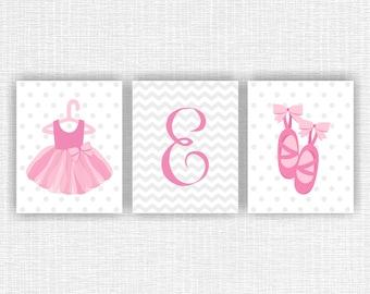 INSTANT DOWNLOAD Pink Gray Little Ballerina Monogram Chevron Polka dots Baby Girl room wall art decor set of 3, 8x10