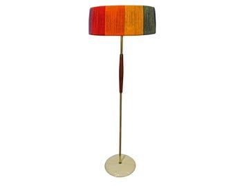 Mid-Century Lamp Danish Modern George Thurston Lightolier Brass Teak Floor Lamp