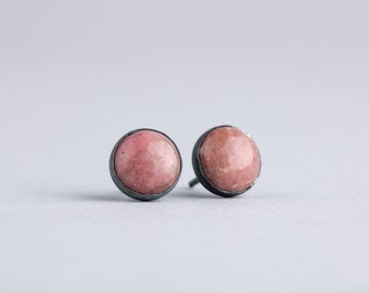 Pink Rhodonite Gemstone Stud Earrings in Oxidized Black Sterling Silver - Light Pink Post Earrings in Black Settings