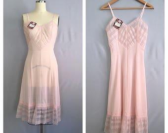 Blossom pink slip   1950s nylon and lace slip   50s dead stock boudoir lingerie   s