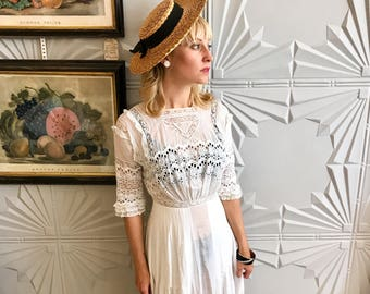 1900's Edwardian White Eyelet Lace Maxi Dress - so dreamy!