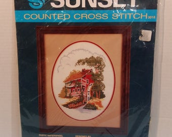 Rustic Waterfall Counted Cross Stitch Kit by Sunset  13 x 16 Matted  11 x 14 unmatted