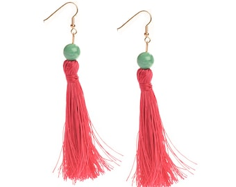 The Original Big Little Lies Holly Golightly Tassel Earrings in Hot Pink with Teal Bead