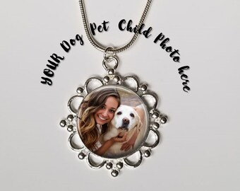 Dog Necklace  - Dog Photo Necklace- Custom Personalized Sterling Silver Plated Pet Necklace - Filagree Border Custom Pet Photo pendant