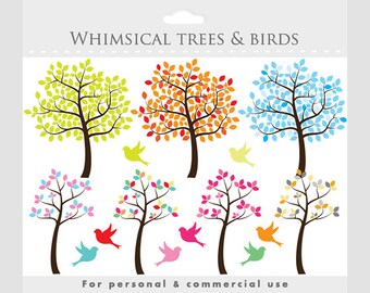Tree clipart - tree clip art whimsical, cute, sweet, birds, bird, leaves, green, orange, summer, fall, winter, birdies
