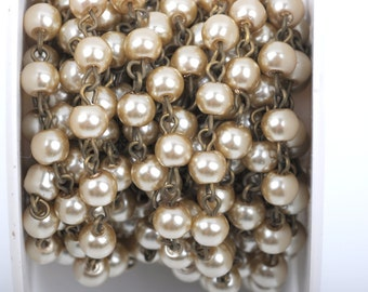 13 feet Taupe Light Brown Pearl Rosary Chain, bronze wire, 6mm round glass pearl beads, fch0413b