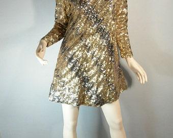 SALE Gold Sequin Disco Dress// Gogo Dress// Fancy 60s Mod Sequin Dress (F1)
