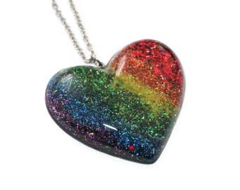 Rainbow Necklace Glitter Heart Pendant Gradient All Colors Pride Glitter Resin Jewelry