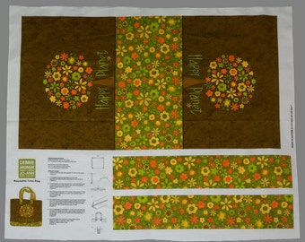 Vintage Debbie Munn Reusable Tote Bag Printed Fabric Pattern, Make, Use Over and Over, Mod Print, Daisies, Greens, Browns, Oranges, Yellows
