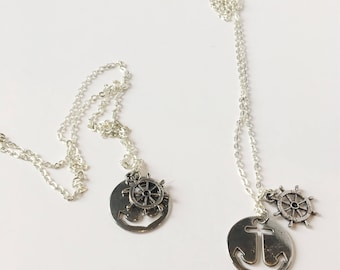 Anchor and Wheel Necklace