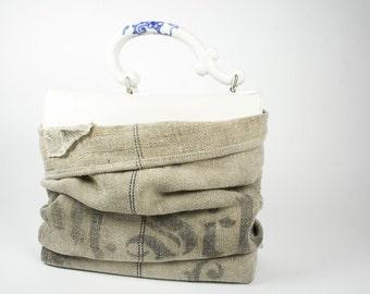 Lederhandtasche mit Porzellangriff Dockerhandbag
