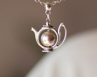 Gray Pink Pearl Teapot Necklace Teapot Pendant Pearl Teapot Jewelry Teapot Necklace for Tea Lovers Cute Gift Tea Pearty Charm Necklace Pearl