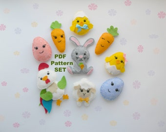 Easter PDF sewing pattern Felteaster decorations PDF easter ornament DIY easter project Garland Easter gift stuffed toy pattern