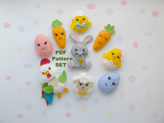 Easter pdf sewing pattern felteaster decorations pdf easter negle Choice Image