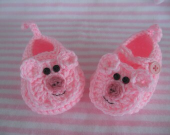 Crocheted Little Piggy Baby Booties, Crocheted Baby Booties, Crocheted Baby Girl Booties