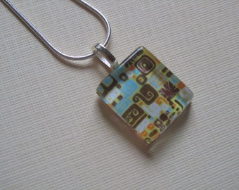 Brown Retro Print Glass Pendant with Silver Chain Necklace