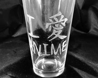 I Love Anime pint glass