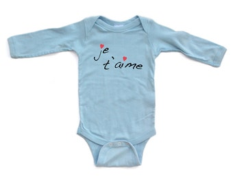 """Je t'aime (French for """"I Love You"""") Cute Valentine's Day Long Sleeve Baby Bodysuit"""