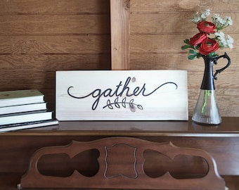 Gather Sign Farmhouse Decor Gather Wood Sign Home Decor Farmhouse Sign for Kitchen Farmhouse Decoration Rustic Wood Signs Eating Room Decor