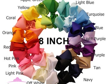 """8"""" INCH big hair bows - large hair bow - hairbows - girls boutique bows - big bows for hair - extra large hair bows - boutique hair bow B801"""