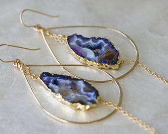 Druzy Earrings, Geode Earrings, Hoop Earrings, Purple Druzy Earrings, Hammered Hoop Earrings, Occo Agate Earrings, Gold Dipped Earrings