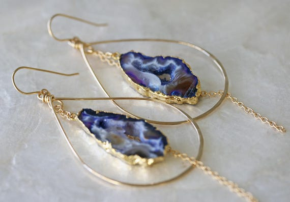 Geode Earrings with Gold Edging in Gold Hoop Earrings